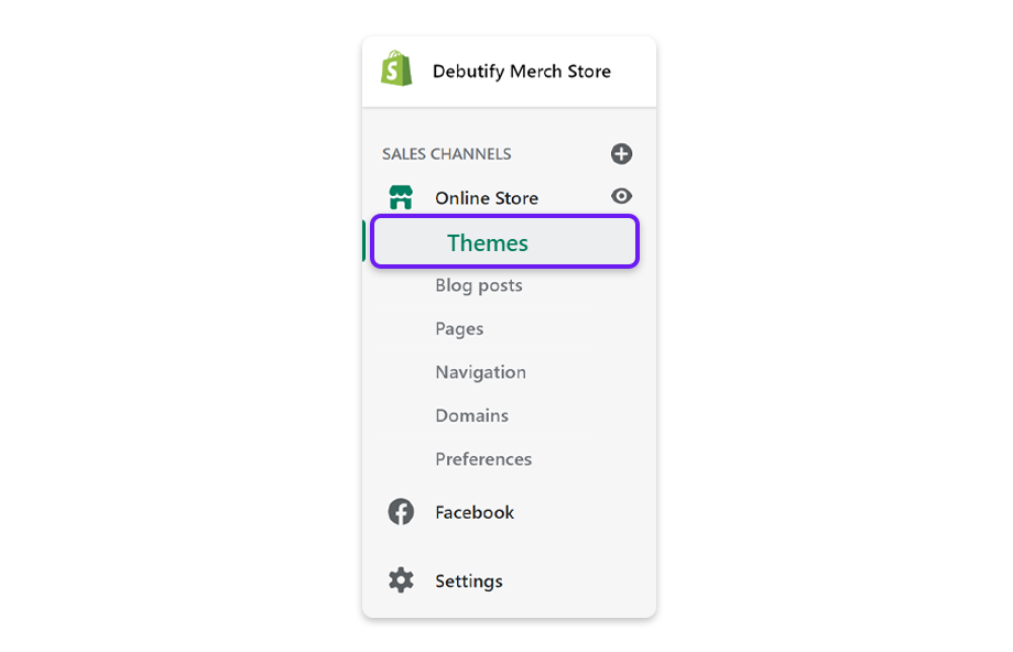 In Shopify admin, under online store, click on Themes.