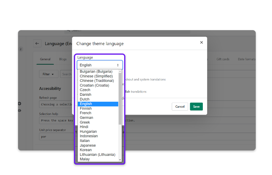 Select a language from the list of options and click on Save to apply the changes.