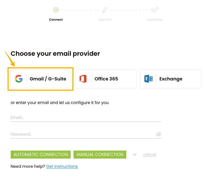 Image with arrow from which you can choose Gmail as your provider which you want to connect