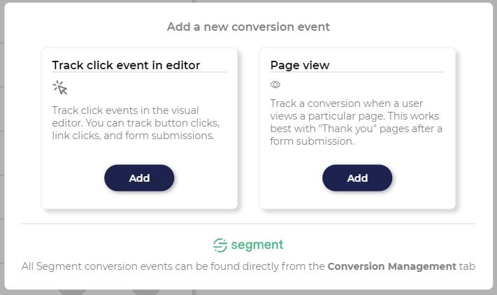 Conversion event popup
