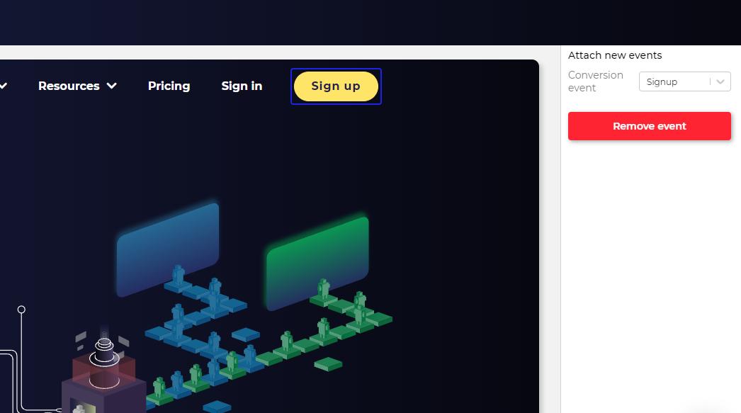 Create new conversion events in visual editor