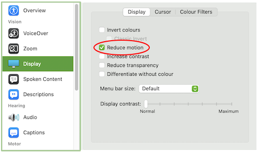 Mac display settings with reduce motion turned on
