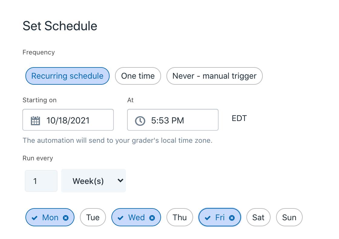 Automation Set Schedule
