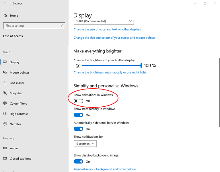 Windows display settings