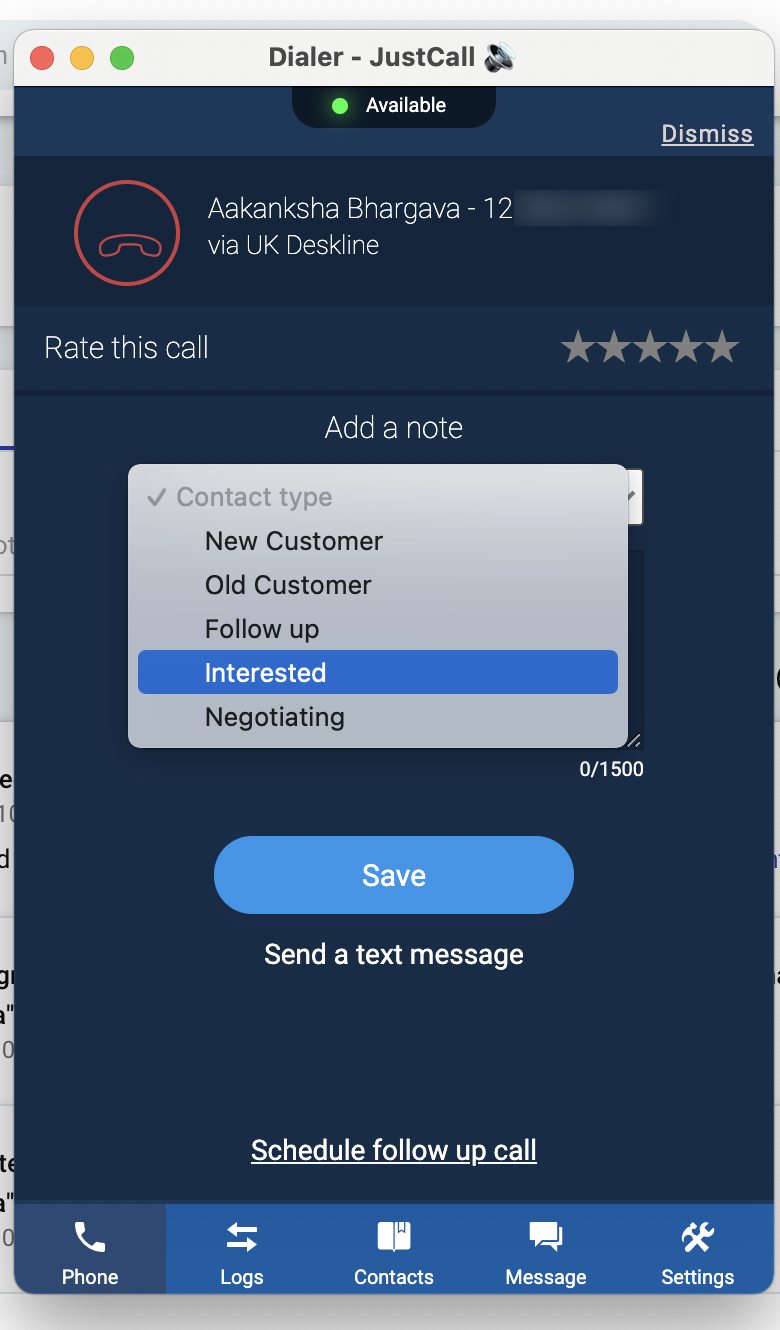 Select call outcomes in JustCall dialer that represent contact types in Copper