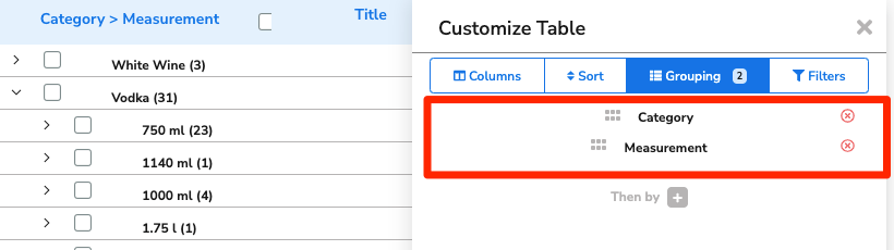 The items appear grouped by Category, and then measurement size.