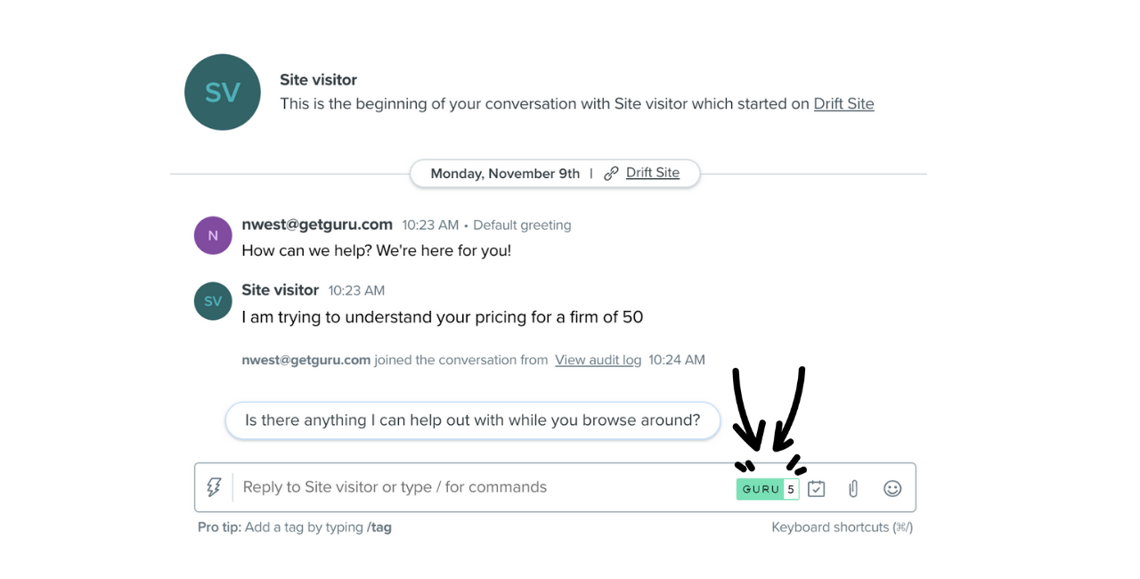 Guru Integration with Drift in action
