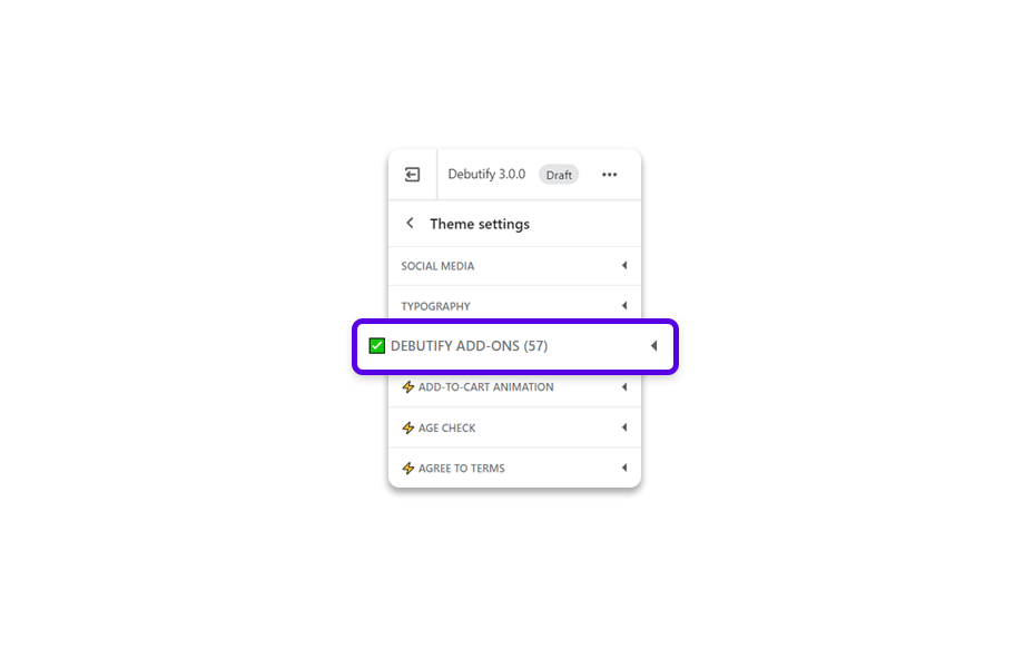 Click on Debutify add-ons.