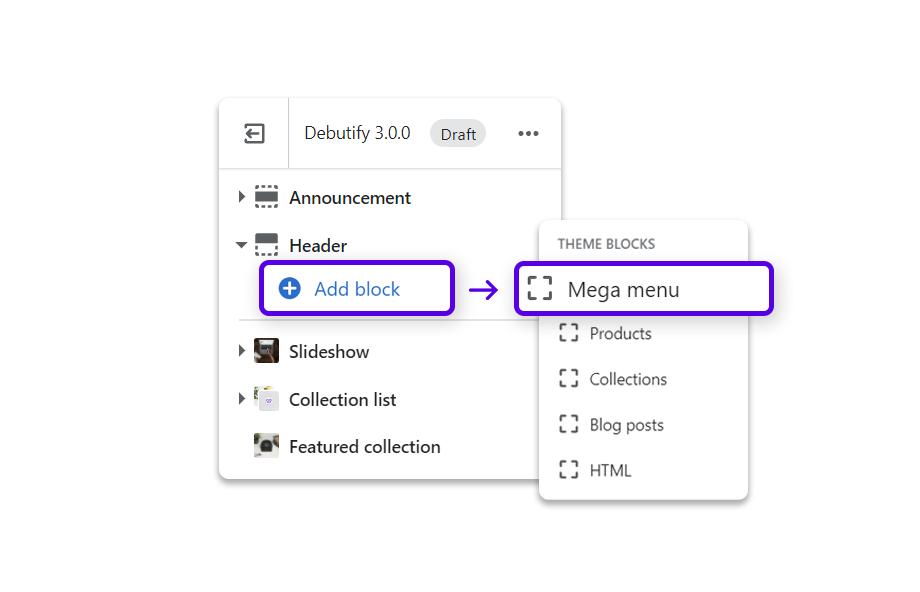 Click on add block to reveal theme blocks and click on Mega Menu.