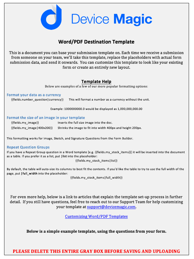 PDFWord File Customization Device Magic Help Center - Will template word