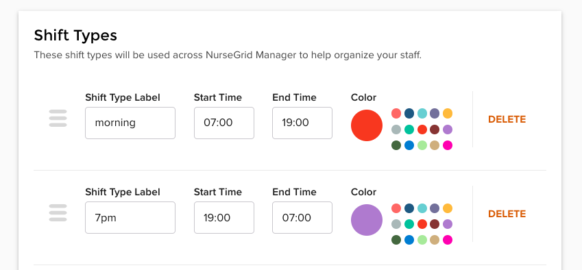 NurseGrid Manager: Shift Types