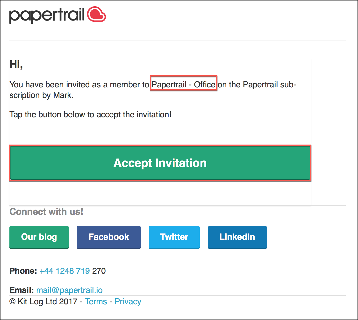 Accepting invites to more accounts papertrail help center because your email address is already registered with papertrail this link will take you to your invitations page where you need to add your password stopboris Choice Image
