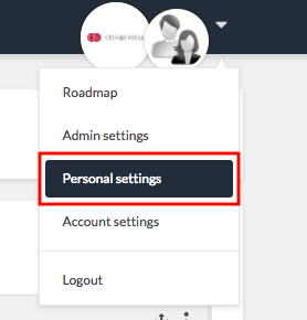 personal settings in dropdown menu