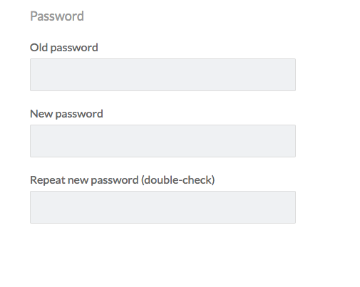 fields for old and new password