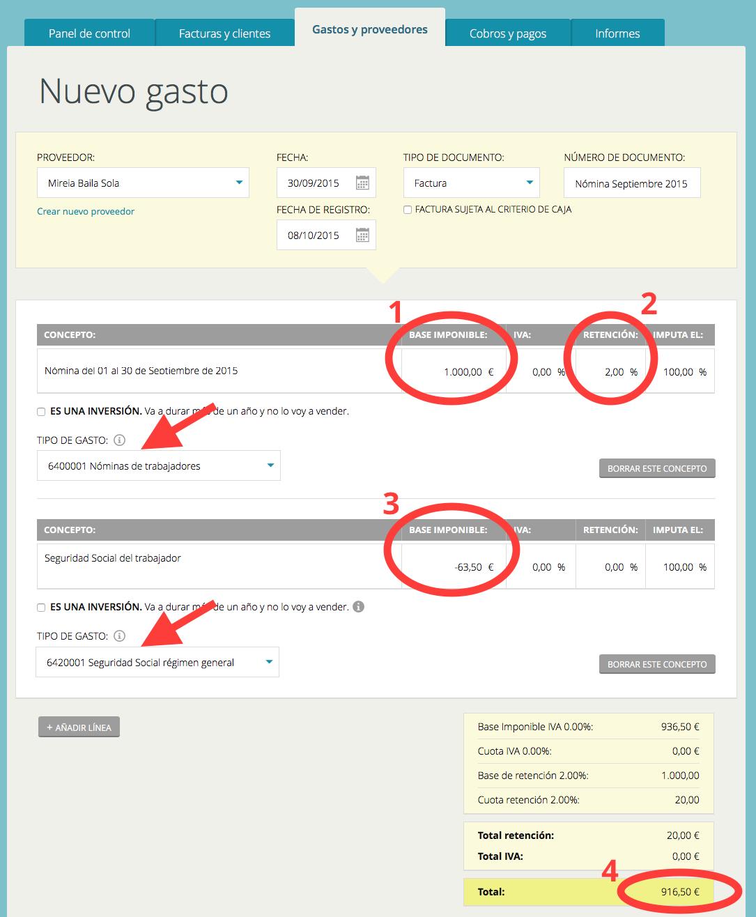 C mo registrar una n mina c mo se hace con cu ntica for Ejemplo nomina trabajador