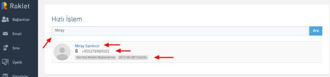 Hızlı erişim ekranında kişi hakkındaki verileri kolayca bulabilirsiniz