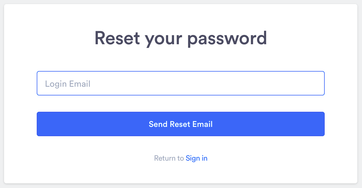 Password reset email entry screen.