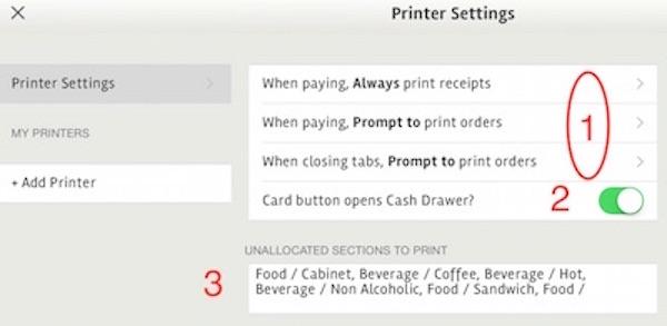 posBoss Printer Settings