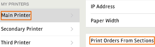 Select sections to Print from your posBoss menu