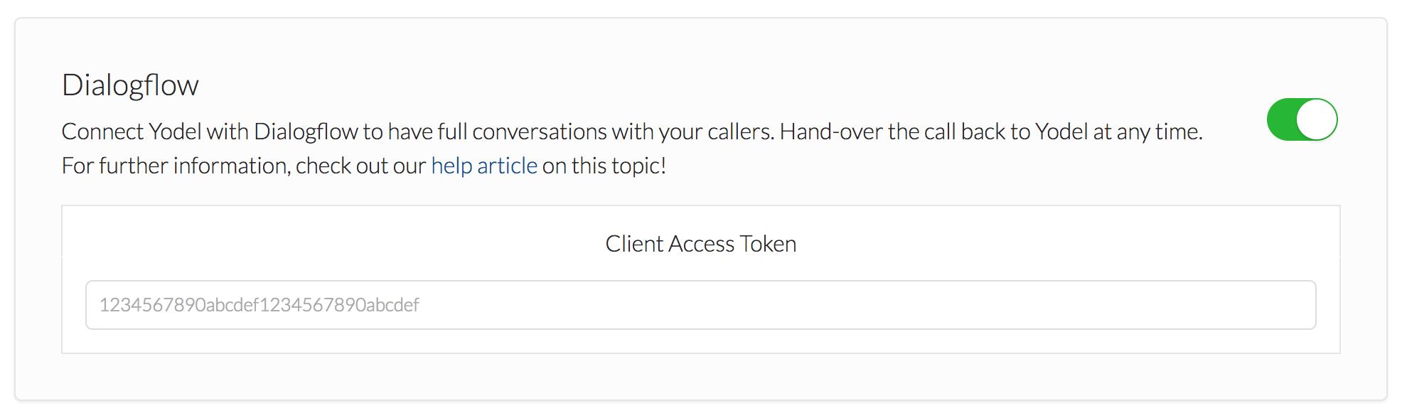 Yodel Dialogflow Integration