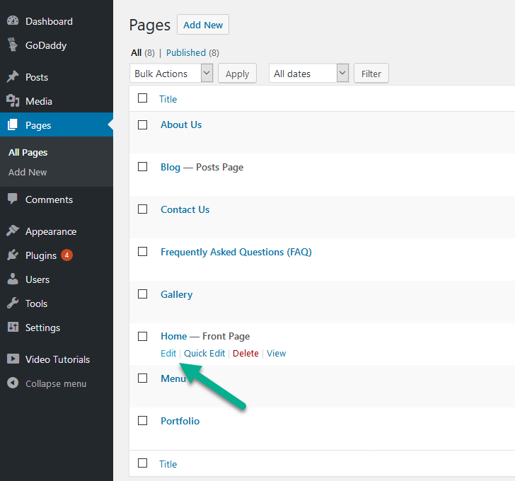 How to add the HTML tag to your Wordpress site's homepage for ... For Home Babiquiudesigns Html on