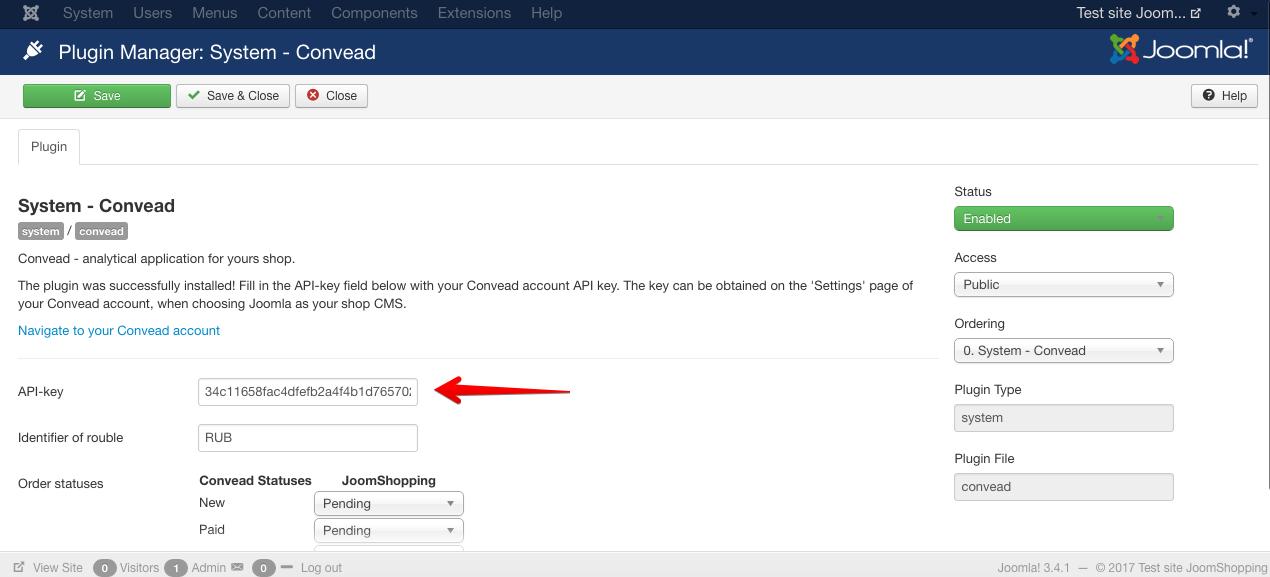 API-ключ вашего аккаунта Convead
