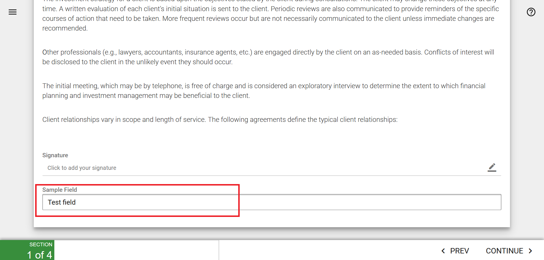 client form template