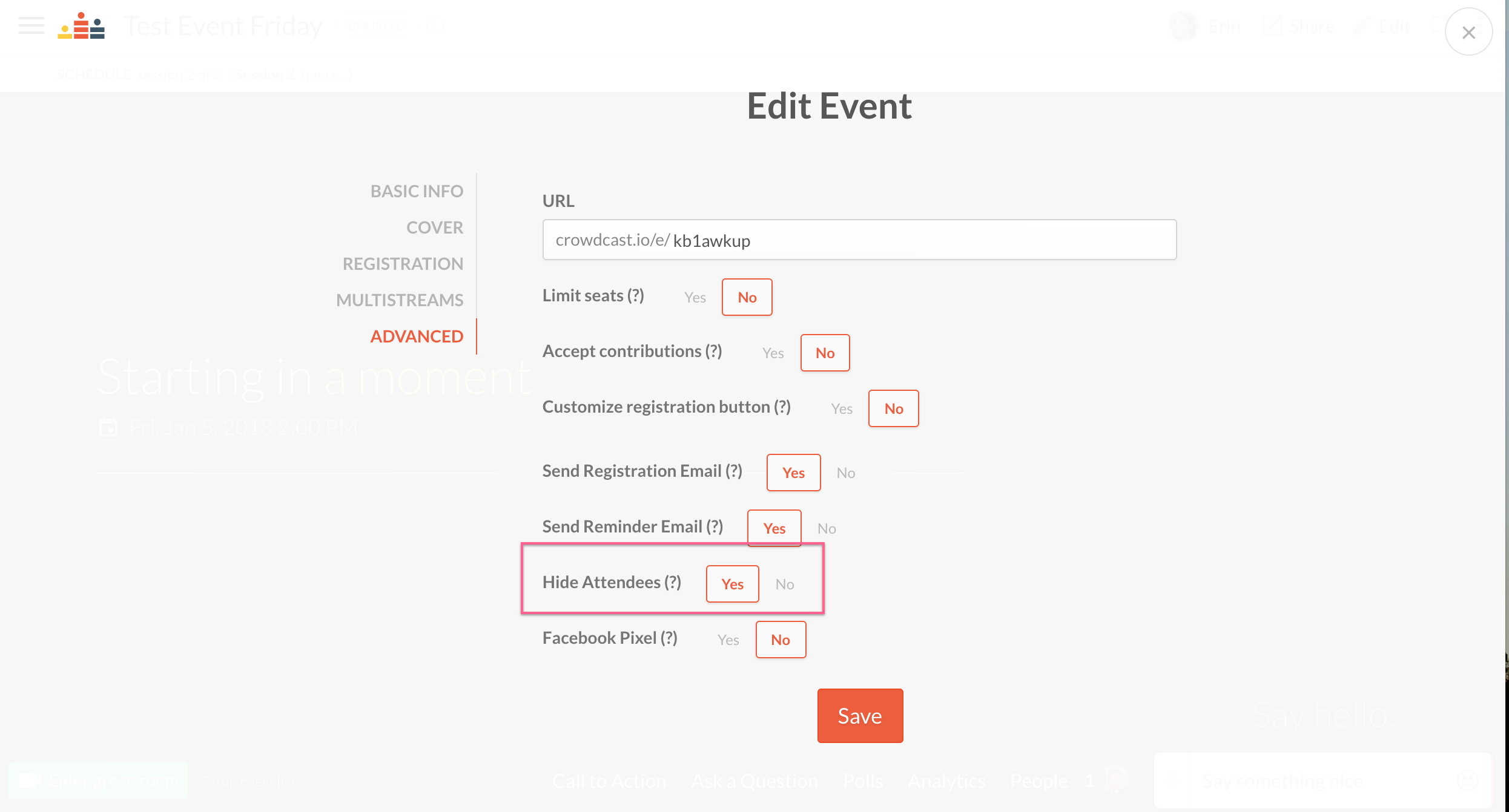 Screenshot of the advanced section within edit event with the hide attendees option circled.