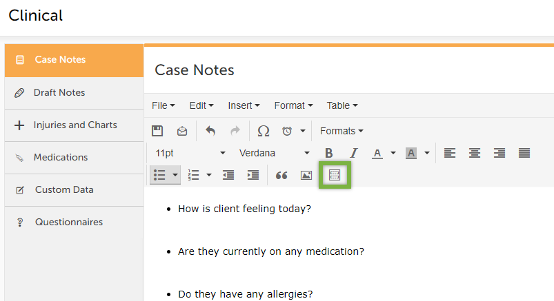 Case note templates   coreplus help centre