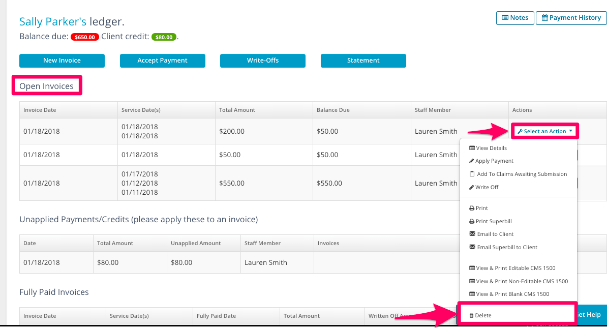 How To Delete An Invoice TheraNest Support Center - Submitting invoices for payment
