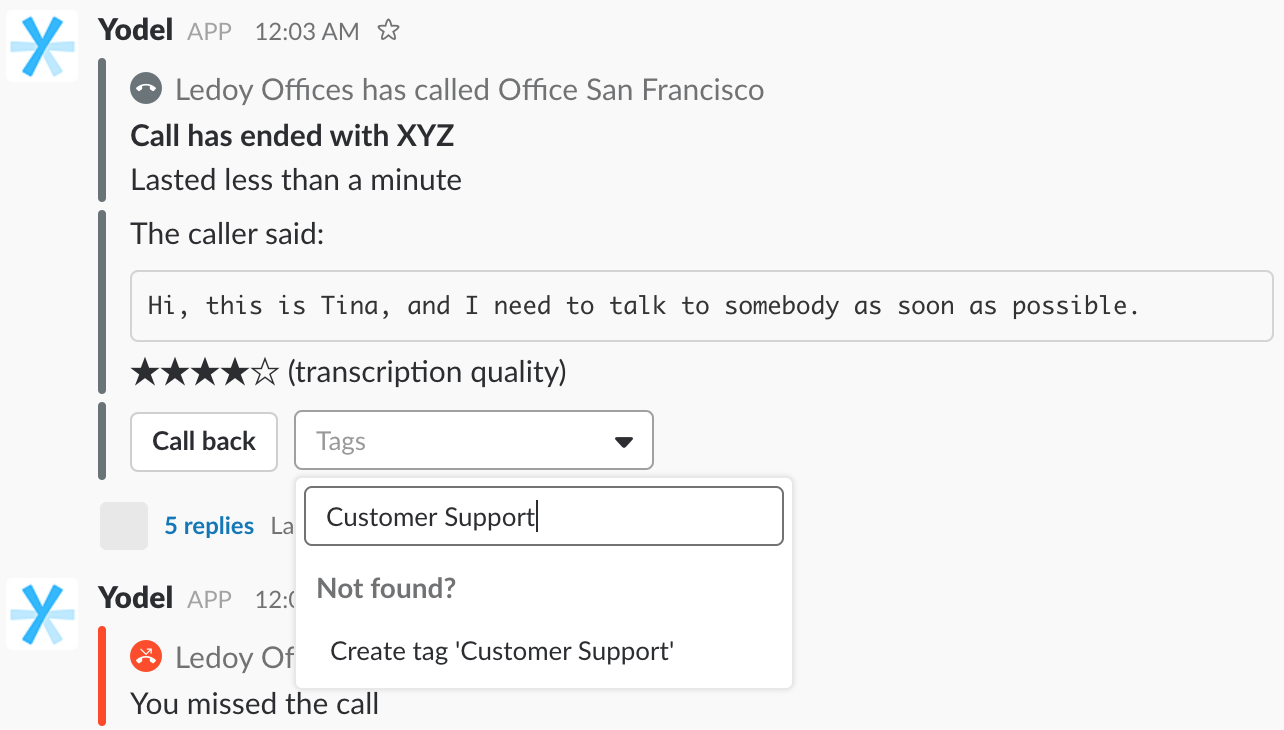 Tag Calls — Yodel Business Phone System