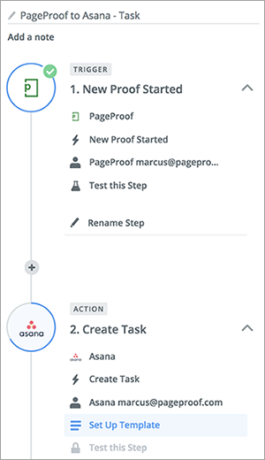 Example Zapier PageProof trigger and Asana action.