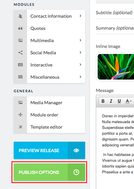 green publish options button in sidebar