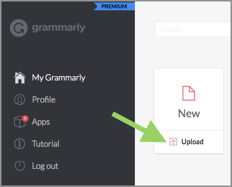 """An arrow pointing to the """"Upload"""" button in Grammarly."""