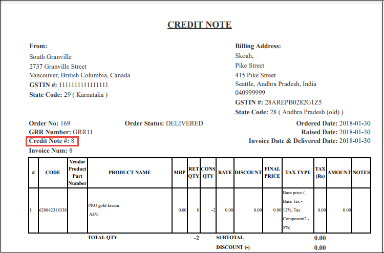 Update credit note for return orders zenoti help center note when you print the return order you can see the credit note number on it altavistaventures Choice Image