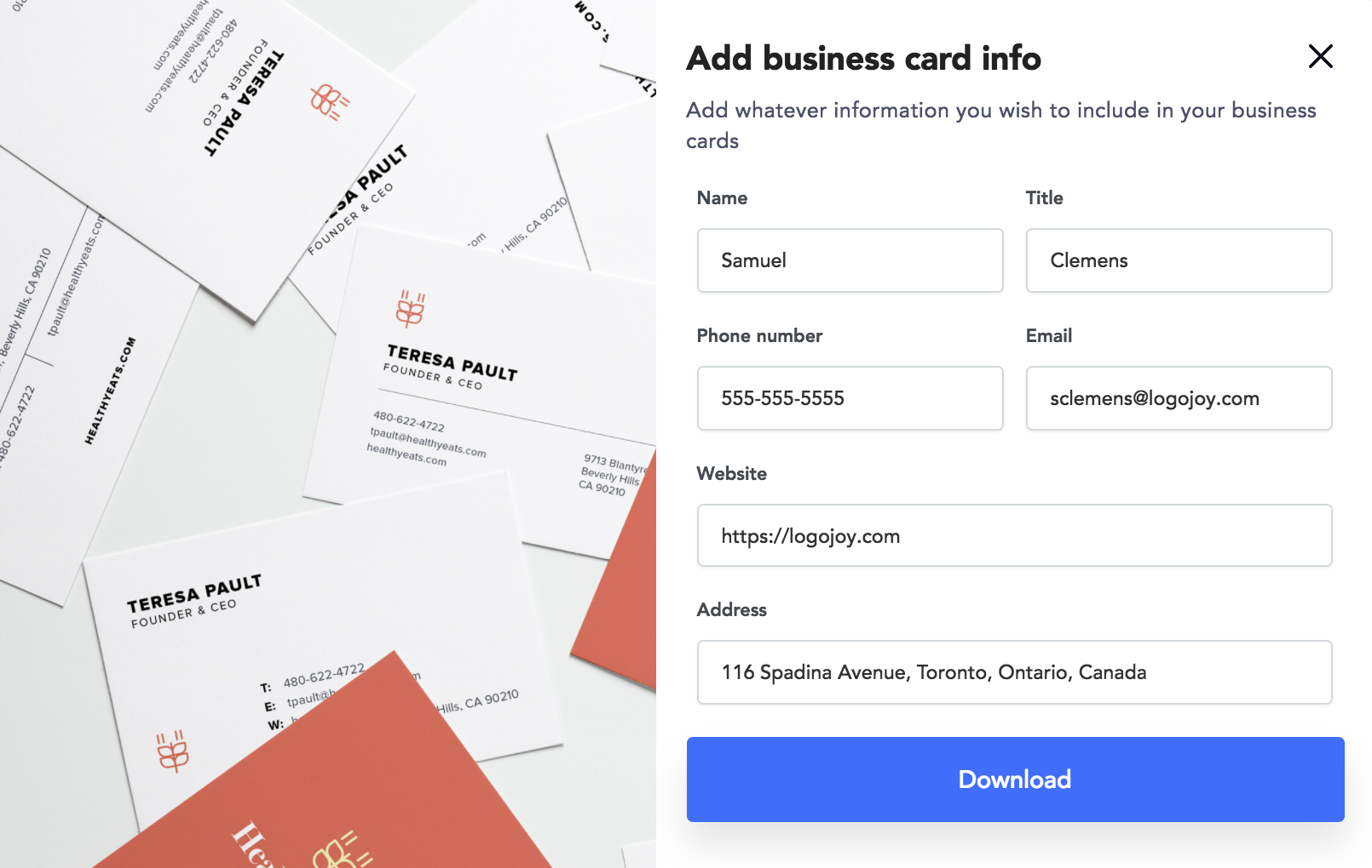 How do i download my business card designs logojoy help center if the modal doesnt pop up for any reason you can also activate the business card generator from the button above your logo in the editor reheart Gallery