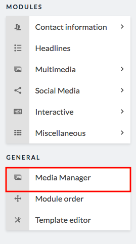 sidebar with media manager button highlighted