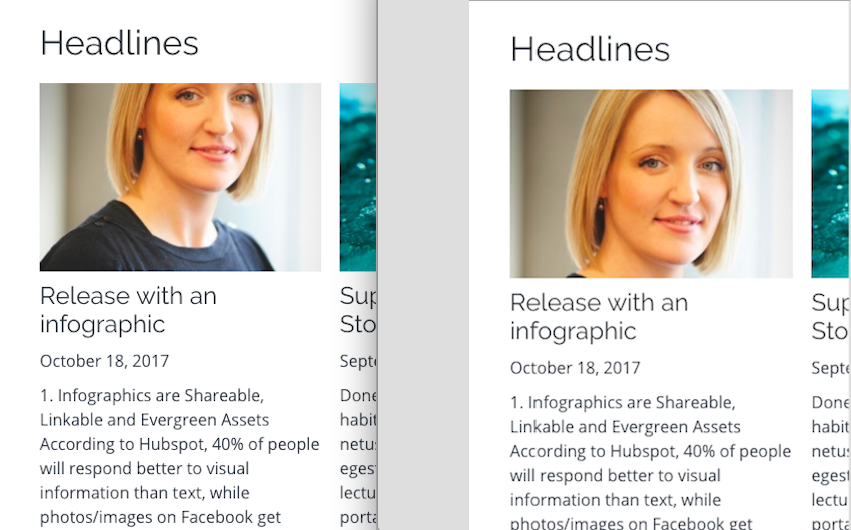 headlines module with an image cutting off a forehead and one with a properly cropped headshot