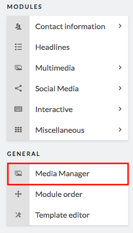media manager option in sidebar