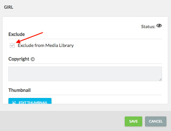 arrow pointing to exclude from media library option