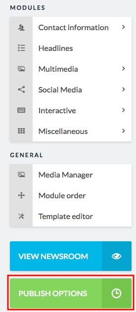 publish options button in sidebar