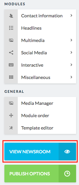 view newsroom button in sidebar