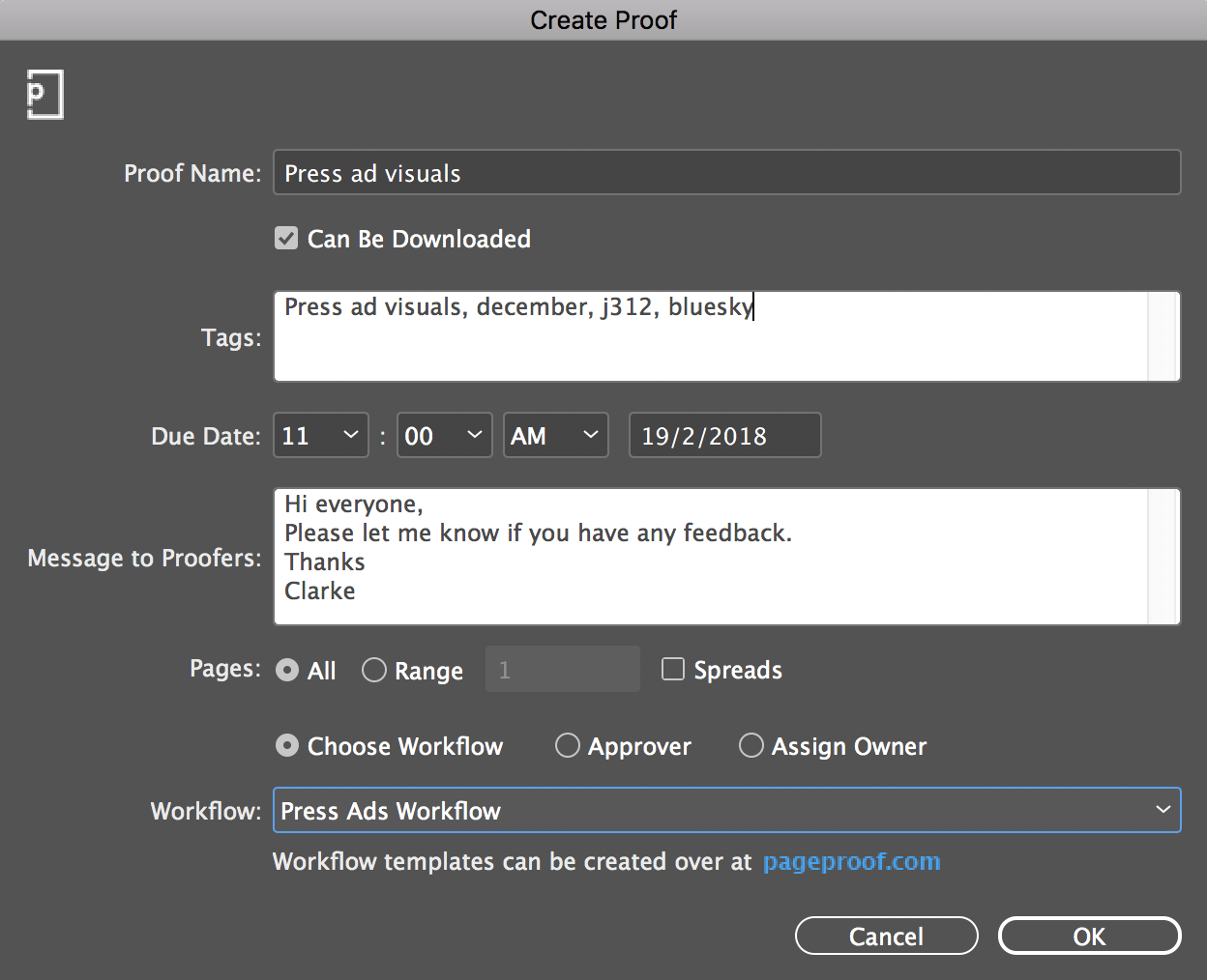 Create a proof from InDesign