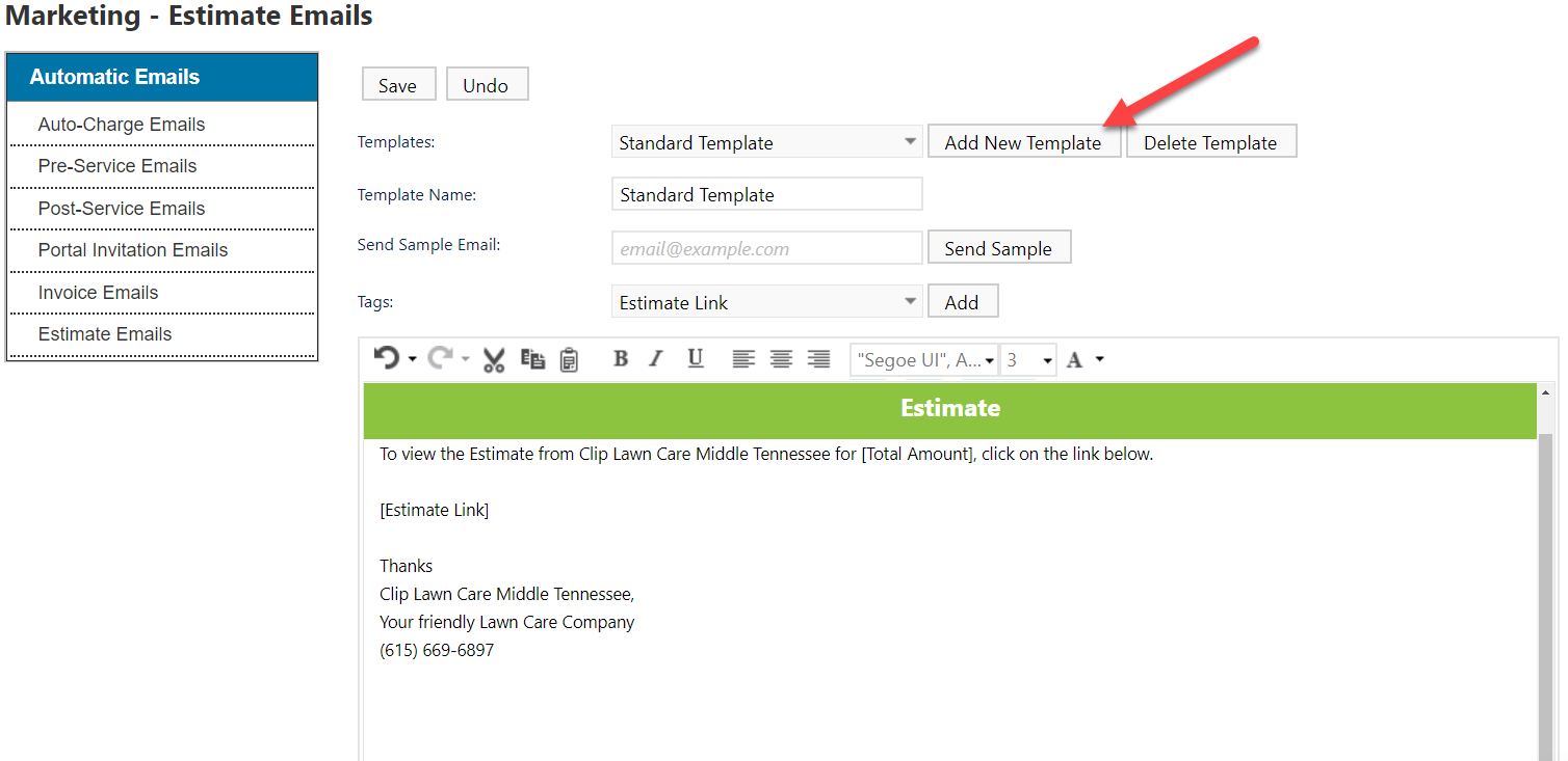 Estimates And Leads In CLIPitc CLIP Software Help Center - Estimate email template