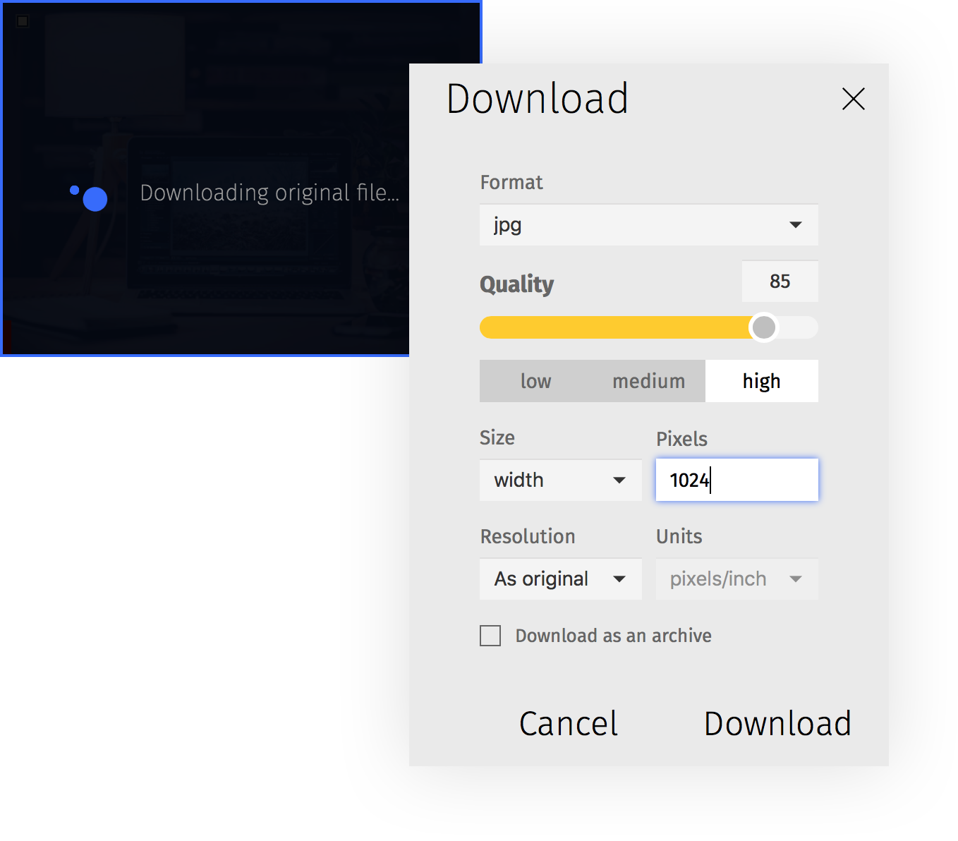 Choose the size of the image you want to download