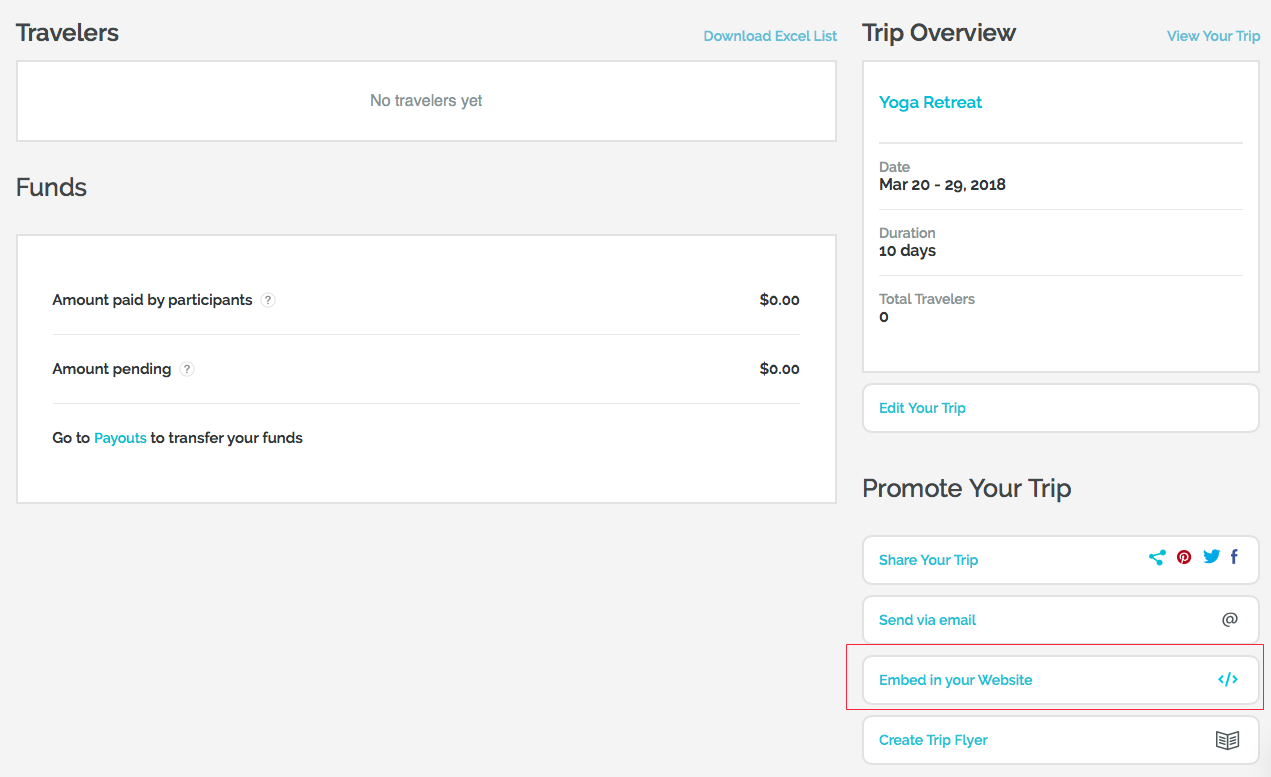 embed WeTravel trip in WordPress site