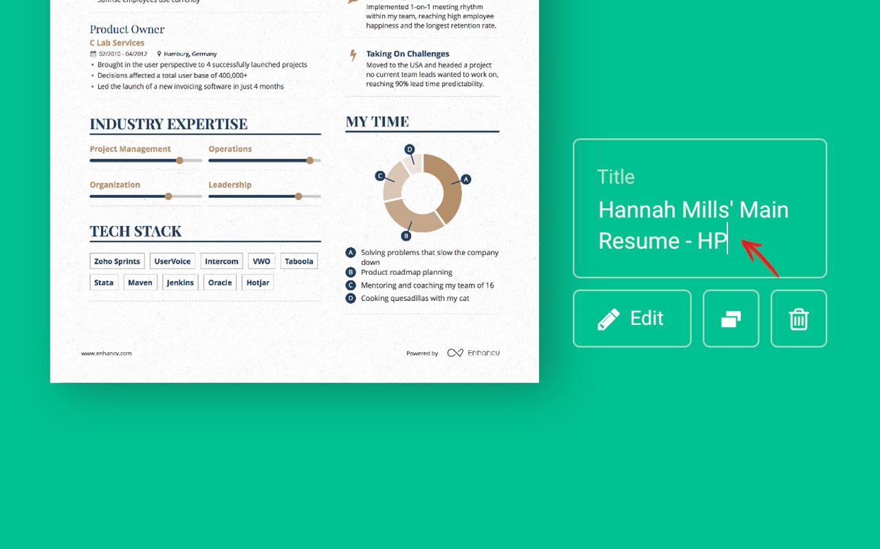 can you rename your resume enhancv help center