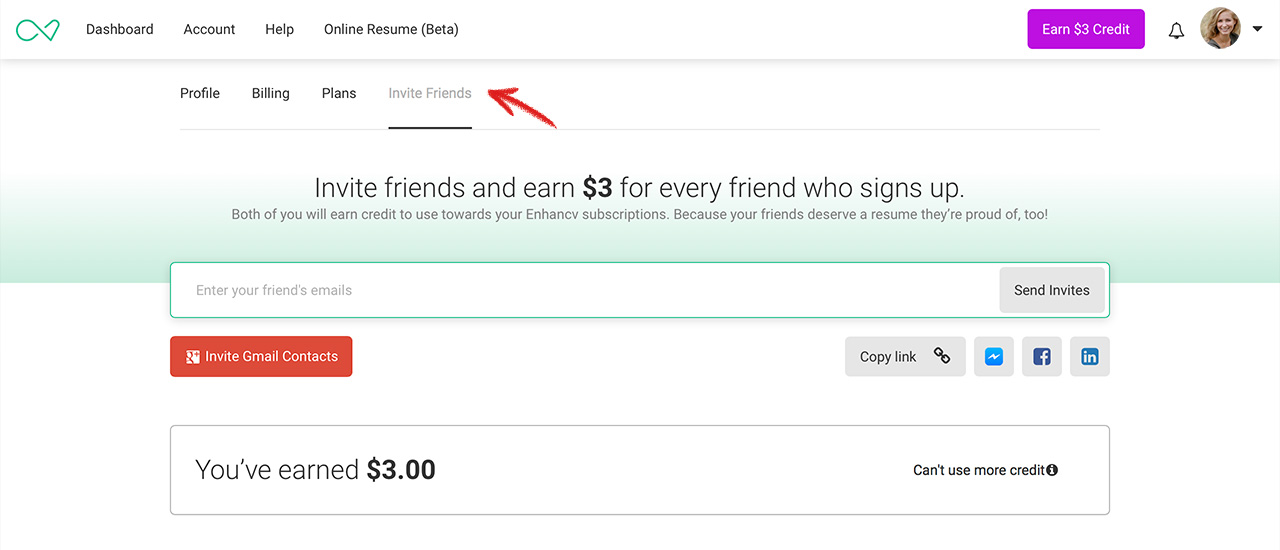 how to earn credit by inviting friends enhancv help center