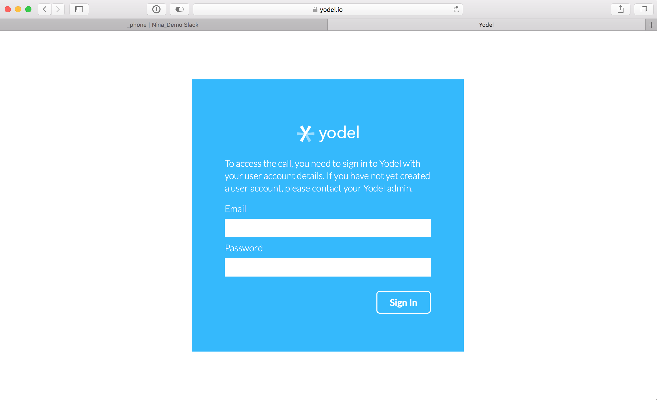 Sign In to Yodel