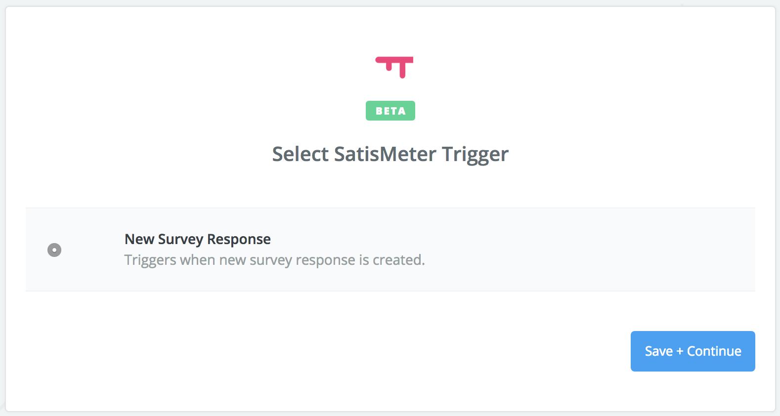 Select trigger - SatisMeter - Zapier integration